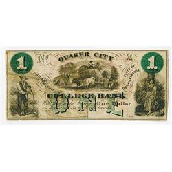 Quaker City College Bank, ND (ca.1860-70's) College Currency.