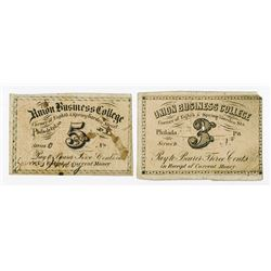 Union Business College, ND (ca.1860-70's) College Currency Fractional Change Pair.