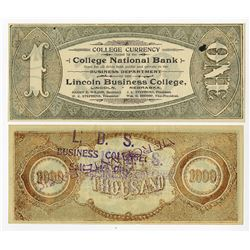 Utah and Nebraska College Currency Pair, ca.1880-90's.