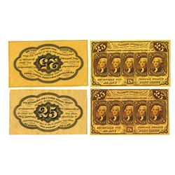 U.S. Fractional Currency, 1st Issue 25 cents Fr#1282, 2 Sets of Front and Back Trimmed Large Margin
