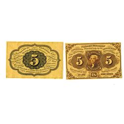 U.S. Fractional Currency, 1st Issue 5 cents Fr#1231, Front and Back Trimmed Proof Pair.