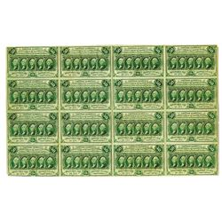 U.S. Fractional Currency, 1st Issue 50 cents Fr#1312, Uncut Sheet of 16 Notes.
