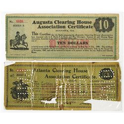 Atlanta Clearing House Association Certificate, 1907 Depression Scrip Pair.
