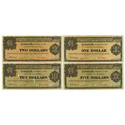 St. Joseph Clearing House Association, 1907 Specimen Depression Scrip Set of 4 notes.