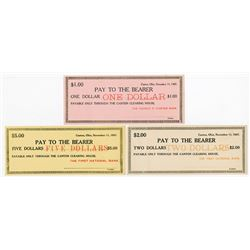 Canton Clearing House, First National Bank 1907 Depression Scrip Note Trio.