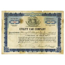 Utility Car Co., 1910 Early Automobile Stock Certificate.
