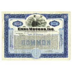 Earl Motors, Inc., 1922 Issued Stock Certificate.