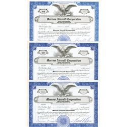 Morrow Aircraft Corp., 1941 Stock Certificate Trio.