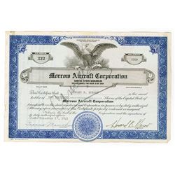 Morrow Aircraft Corp., 1941 Stock Certificate.