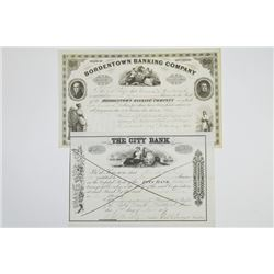 Pair of Cancelled Banking Stock Certificates, ca.1839-1920