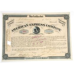 American Express Co.,  1878 Stock Certificate With Fargo, Flagg & Holland Signatures.