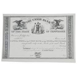Union Bank of Tennessee, ca.1830-40's Proof Stock Certificate.