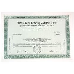 Puerto Rico brewing Co., Inc., 1962 Specimen Stock Certificate.