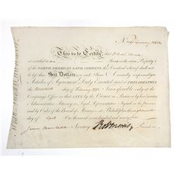 North American Land Co. 1795 Issued Stock Certificate Signed by James Marshall and Robert Morris, a
