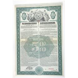 La Republica Dominicana, 1918 Specimen 5% Bond.