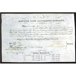 Asylum Life Assurance Company, 1824 Issued Share Certificate.