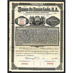 Banco de Nuevo Leon, S.A., 1928 Specimen Share-Bond.