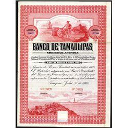 Banco De Tamaulipas, 1905 Specimen Stock-bond.