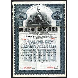Banco Espanol Refaccionario 1912, Specimen Stock-Bond.