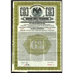"Republica Mexicana, Bono Del Tesoro, 1913 Series ""A"" Specimen Bond."