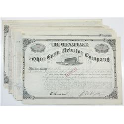Chesapeake and Ohio Grain Elevator Co., ca.1880-1890 Lot of Cancelled Stock Certificates