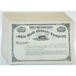 Chesapeake and Ohio Grain Elevator Co., ca.1880-1900 Lot of Unissued Stock Certificates