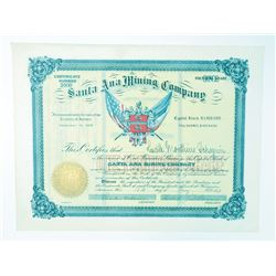 "Santa Ana Mining Co., 1898 Issued ""Founders Share"" Stock."