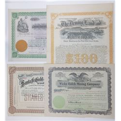 New Mexico and Western Stock Certificate Assortment, ca.1892-1916.