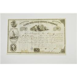 Slate Hill Gold Mining Co., 1854 Issued Stock Certificate