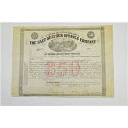 Salt Sulphur Springs Co., 1866 Issued Bond