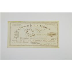 Rosebud Indian Mission, 1888 Issued Stock Donation Certificate