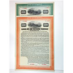 Caddo Oil and Refining Co., 1917 Pair of Specimen Bonds