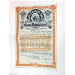 Penn Anthracite Coal Co., 1889 Issued Bond