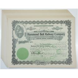 Hammond Belt Railway Co., ca.1900-1910  Unissued Stock Certificates