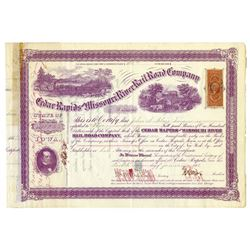 Cedar Rapids and Missouri River Rail Road Co., 1868 Issued Stock Certificate