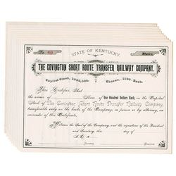 Covington Short Route Transfer Railway Co., ca.1870-1890 Group of Unissued Stock Certificates