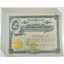 Greenup, Portsmouth & Columbus Railroad Co., ca.1900-1920 Lot of Unissued Stock Certificates