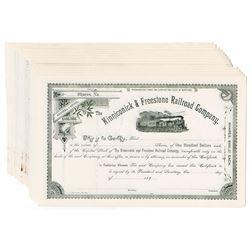 Kinniconick & Freestone Railroad Co., ca.1890-1900 Group of Unissued Stock Certificate