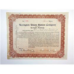 Lexington Union Station Co., 1912 Stock Certificate.