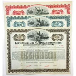 Louisville and Nashville-Southern Railroad Co., ca.1880-1900 Trio of Specimen Bond