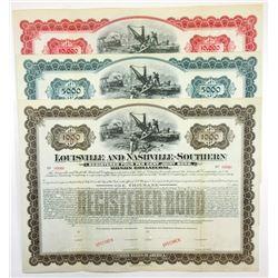 Louisville and Nashville-Southern Railroad Co., ca.1880-1900 Trio of Specimen Bond