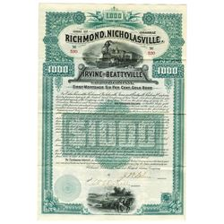 Richmond, Nicholasville, Irvine and Beattyville Railroad Co., 1889 Issued Bond.