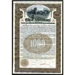 City of New Orleans - Public Belt Railroad Bond of the City of New Orleans 1909 Specimen.
