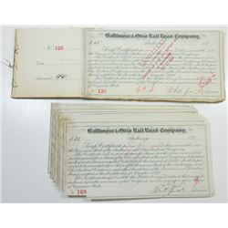 Baltimore & Ohio Rail Road Co. ca.1890-1900 Group of Cancelled Scrip Certificates