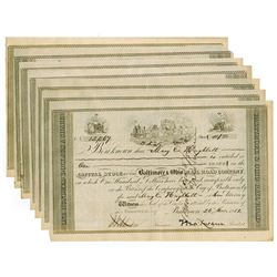 Baltimore & Ohio Rail Road Co., 1851 Group of Ink Cancelled Stock Certificates