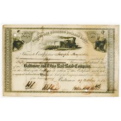 Baltimore & Ohio Rail Road Co., 1856 Cancelled Stock Certificate