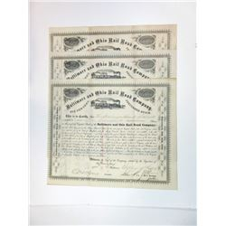 Baltimore & Ohio Rail Road Co., 1873-1875 Group of Cancelled Stock Certificates