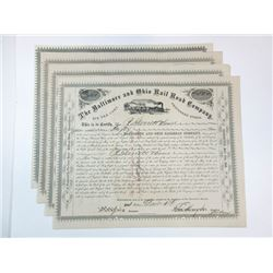 Baltimore & Ohio Rail Road Co., 1875 Group of Cancelled Stock Certificates
