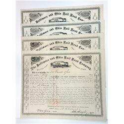 Baltimore & Ohio Rail Road Co., 1875-1876 Group of Cancelled Stock Certificates