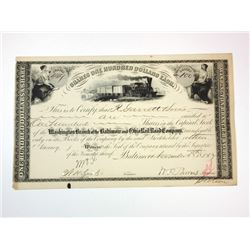 Baltimore & Ohio Rail Road Co., 1885 Cancelled Stock Certificate